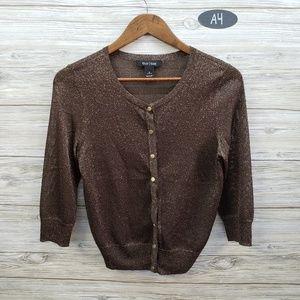 WHBM Brown Sparkle Button Cardigan